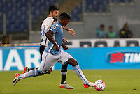 Calcio, Serie A: Lazio vs Udinese. Roma, stadio Olimpico, 13 settembre 2015.<br /> Lazio&rsquo;s Keita Diao, right, is challenged by Udinese's Panagiotis Kone during the Italian Serie A football match between Lazio and Udinese at Rome's Olympic stadium, 13 September 2015.<br /> UPDATE IMAGES PRESS/Isabella Bonotto