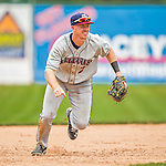 9 July 2015: Mahoning Valley Scrappers infielder Austin Fisher in action against the Vermont Lake Monsters at Centennial Field in Burlington, Vermont. The Scrappers defeated the Lake Monsters 8-4 in 12 innings of NY Penn League play. Mandatory Credit: Ed Wolfstein Photo *** RAW Image File Available ****