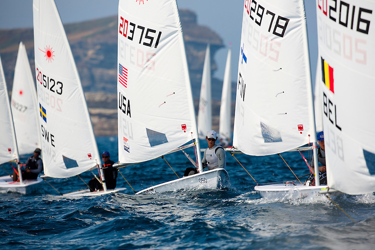 20140912, Santander, Spain: 2014 ISAF SAILING WORLD CHAMPIONSHIPS - More than 1,250 sailors in over 900 boats from 84 nations will compete at the Santander 2014 ISAF Sailing World Championships from 8-21 September 2014. The best sailing talent will be on show and as well as world titles being awarded across ten events 50% of Rio 2016 Olympic Sailing Competition places will be won based on results in Santander. Boat class and Sailor(s): Laser - USA203751 - Erik Bowers. Photo: Mick Anderson/SAILINGPIX.DK.