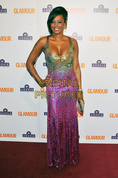 MELANIE BROWN.Inside Arrivals at the Glamour Women of the Year Awards 2008 held at Berkeley Square Gardens, London, England,.3rd June 2008.full length hand on hip Mel B pink and green sequined  long dress maxi clutch bag.CAP/PL.©Phil Loftus/Capital Pictures