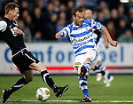 Nederland, Zwolle, 13 april 2012.Jupiler League.Seizoen 2011-2012.Nassir Maachi (r.) van FC Zwolle. Links Frank van Kouwen van FC Eindhoven