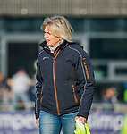 AMSTELVEEN -  coach Nettie van Maasakker (SCHC)  tijdens de competitie hoofdklasse hockeywedstrijd dames, Pinoke-SCHC (1-8) . COPYRIGHT KOEN SUYK
