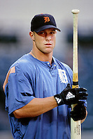Gabe Kapler of the Detroit Tigers during a game against the Anaheim Angels at Angel Stadium circa 1999 in Anaheim, California. (Larry Goren/Four Seam Images)