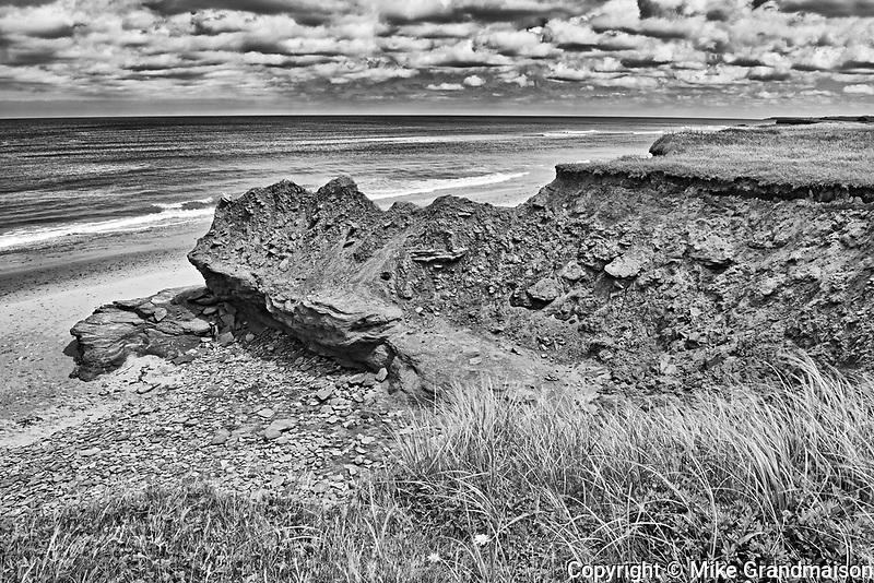 Red sandstone cliffs along the Gulf of St. Lawrence.<br />Park Corner<br />Prince Edward Island<br />Canada<br />Park Corner<br />Prince Edward Island<br />Canada