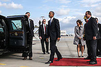 Pictured: US President Barack Obama about to board the presidential limousine upon his arrival at the Eleftherios Venizelos Airport in Athens, Greece. Tuesday 15 November 2016<br /> Re: US President Barack Obama state visit to Greece