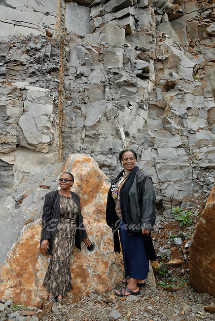 Agnes Mzobotshi and Rose Williams stand proud at their Mzintlava Quarries, in Lusikisiki, in the Eastern Cape.