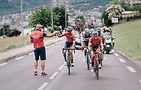 Vincenzo Nibali (ITA/Bahrain-Merida) catching a bidon<br /> <br /> Stage 6: Frontenex &gt; La Rosi&egrave;re Espace San Bernardo (110km)<br /> 70th Crit&eacute;rium du Dauphin&eacute; 2018 (2.UWT)