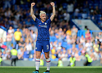 Bethany England, scorer of Chelsea's only goal, celebrates their 1-0 victory at the final whistle during Chelsea Women vs Tottenham Hotspur Women, Barclays FA Women's Super League Football at Stamford Bridge on 8th September 2019