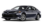 Stock pictures of low aggressive front three quarter view of a 2018 Toyota Camry XLE Hybrid 4 Door Sedan