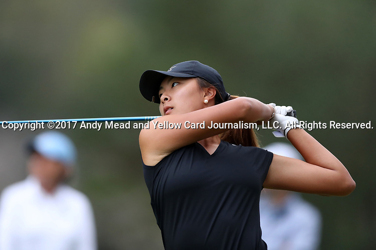 CHAPEL HILL, NC - OCTOBER 14: Vanderbilt's Louise Yu on the 10th tee. The second round of the Ruth's Chris Tar Heel Invitational Women's Golf Tournament was held on October 15, 2017, at the UNC Finley Golf Course in Chapel Hill, NC.