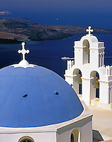 Greece; Cyclades; Santorini; Firostefani: white dome, cruise ship anchoring in front of island Nea Kameni