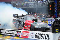 Jun. 16, 2012; Bristol, TN, USA: NHRA funny car driver Blake Alexander during qualifying for the Thunder Valley Nationals at Bristol Dragway. Mandatory Credit: Mark J. Rebilas-