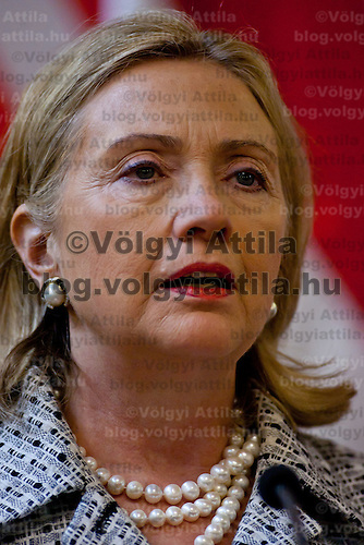 Hillary Rodham Clinton Secretary of State for the United States talks during a press conference after the Opening ceremony of the Tom Lantos Intsitute in Budapest, Hungary. Thursday, 30. June 2011. ATTILA VOLGYI