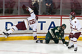 Ryan Fitzgerald (BC - 19), Matt Alvaro (UVM - 25), Luke McInnis (BC - 3) - The Boston College Eagles defeated the University of Vermont Catamounts 7-4 on Saturday, March 11, 2017, at Kelley Rink to sweep their Hockey East quarterfinal series.The Boston College Eagles defeated the University of Vermont Catamounts 7-4 on Saturday, March 11, 2017, at Kelley Rink to sweep their Hockey East quarterfinal series.