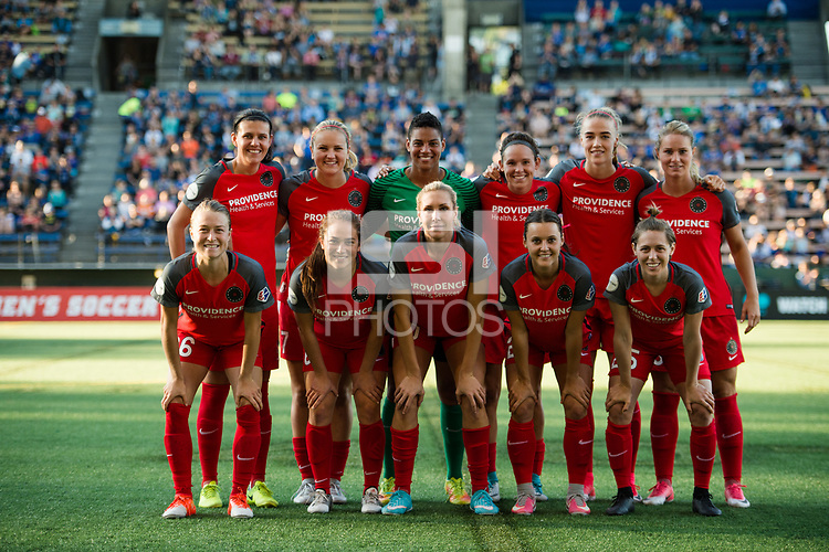 Seattle, WA - Saturday, July 1, 2017:  Portland Thorns FC starting eleven during a regular season National Women's Soccer League (NWSL) match between the Seattle Reign FC and the Portland Thorns FC at Memorial Stadium.