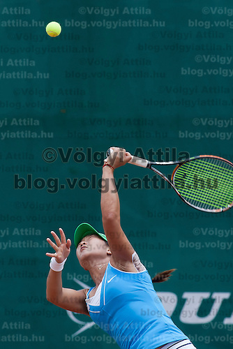 Xinyun Han from China plays her loosing qualifying match against Klara Zakopalova (not pictured) from the Czech Republic during the WTA tour Budapest Grand Prix international women tennis competition held at Roman Tennis Academy in Budapest, Hungary. Tuesday, 06. July 2010. ATTILA VOLGYI