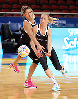 04.08.2015 Silver Ferns Kayla Cullen and Laura Langman during Silver Ferns training ahead of the 2015 Netball World Champs at All Phones Arena in Sydney, Australia. Mandatory Photo Credit ©Michael Bradley.