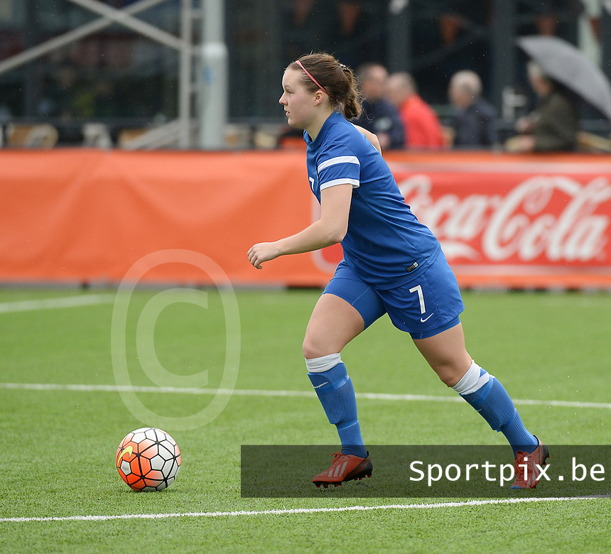 20160405  - Eibergen , NETHERLANDS : Finland's Rebecca Kindstedt  pictured during the soccer match between the women under 19 teams of Finland and Belarus , on the first matchday in group 3 of the UEFA Women Under19 Elite rounds in Eibergen , Netherlands. Tuesday 5 th April 2016 . PHOTO DIRK VUYLSTEKE / Sportpix.be