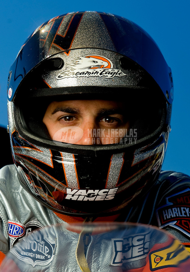 Sept. 5, 2010; Clermont, IN, USA; NHRA pro stock motorcycle rider Eddie Krawiec during qualifying for the U.S. Nationals at O'Reilly Raceway Park at Indianapolis. Mandatory Credit: Mark J. Rebilas-