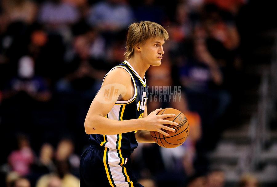 Oct. 12, 2010; Phoenix, AZ, USA; Utah Jazz forward (47) Adrei Kirilenko against the Phoenix Suns during a preseason game at the US Airways Center. Mandatory Credit: Mark J. Rebilas-