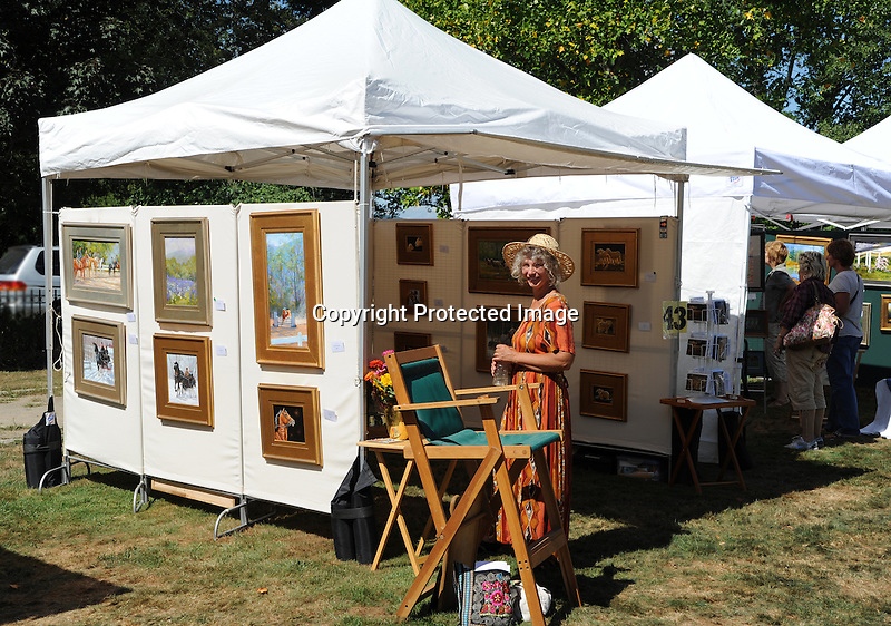 Artist with display at Art in the Park festival in Keene, New Hampshire USA