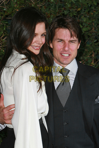 KATIE HOLMES & TOM CRUISE.Mentor LA's Promise Gala Honoring Tom Cruise held at 20th Century Fox Studios,  Los Angeles, California, USA..March 22nd, 2007.half length married husband wife black grey gray suit waistcoat white blouse.CAP/ADM/CH.©Charles Harris/AdMedia/Capital Pictures