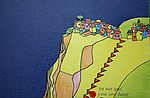 panneau d information, plan de Corniglia . Parc national des Cinque Terre. Ligurie. Italie.