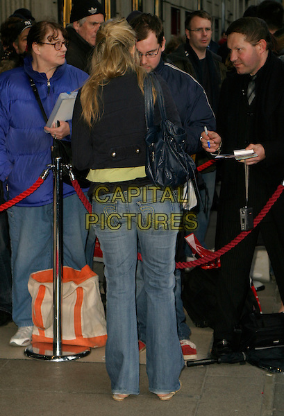 """HOLLY WILLOUGHBY.Arrivals for """"Movin' Out"""" Opening Night,.Apollo Victoria Theatre, .London, England, April 10th 2006..full length back behind jeans.Ref: AH.www.capitalpictures.com.sales@capitalpictures.com.©Adam Houghton/Capital Pictures."""