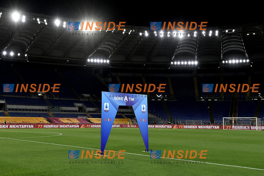 Serie A signs are seen in the center of the pitch prior to the Serie A football match between AS Roma and UC Sampdoria at Olimpico stadium in Rome ( Italy ), June 24th, 2020. Play resumes behind closed doors following the outbreak of the coronavirus disease. AS Roma won 2-1 over UC Sampdoria. <br /> Photo Andrea Staccioli / Insidefoto