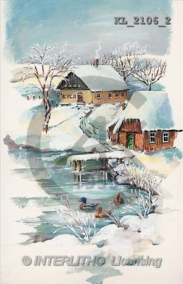 Interlitho, CHRISTMAS LANDSCAPE, paintings, winter landscape, duck(KL2106/2,#XL#) Landschaften, Weihnachten, paisajes, Navidad, illustrations, pinturas