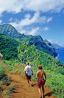 A couple day-hiking the Kalalau Trail glimpses the coastline