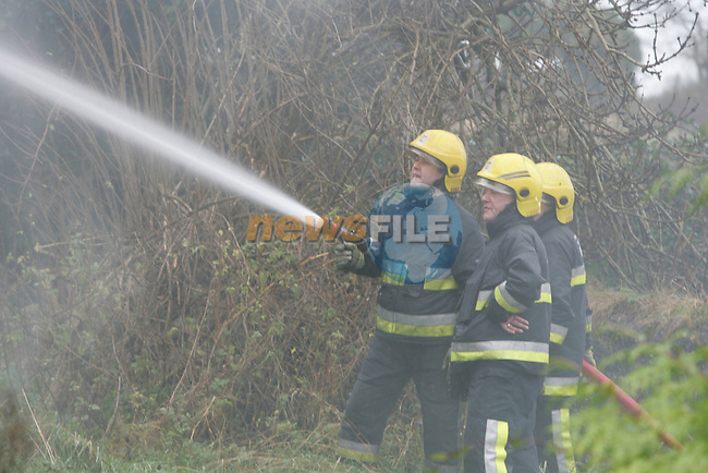 Drogheda Fire service were called to a report of a house on Fire near the woodies roundabout in the M1 Slip road, When the first appliance arrived, adtional assistance was requested, Drogheda second Pump and Water Tanker were dispatched and Dunleer's 13A1 and 13 J1 were dispatched to the scene...Photo: Newsfile/Fran Caffrey.