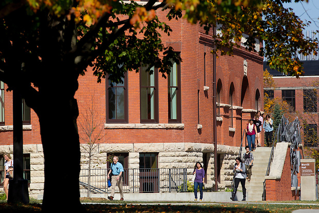 Students exit Morrill Hall on the campus of Iowa State University in Ames, Iowa. (Christopher Gannon/Gannon Visuals)
