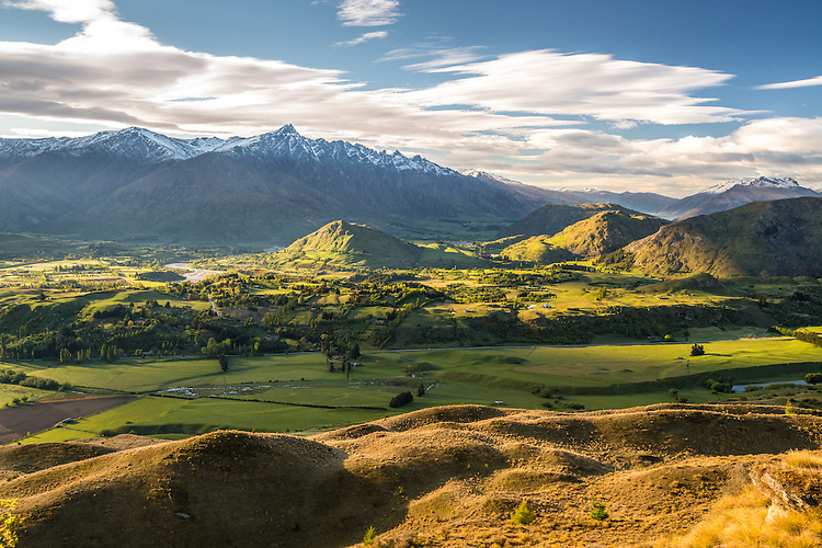 Morning view of the Remarkables from Coronet Peak, South Island, New Zealand - stock photo, canvas, fine art print