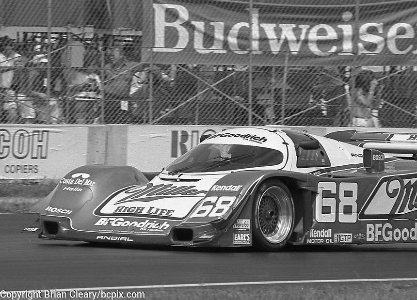 The #68 Porsche 962C of Bob Wollek and John Andretti races through a turn during the IMSA GTP/Lights race at the Florida State Fairgrounds on the way to a 3rd place finish in Tampa, FL, October 1, 1989. (Photo by Brian Cleary/www.bcpix.com)
