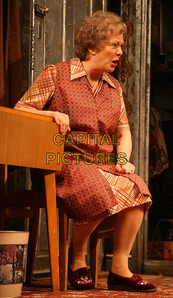 """ALISON STEADMAN .Star in """"Enjoy"""" at The Geilgud Theatre, London, England..January 30th, 2009.full length theatre stage red dress pattern dress costume red dress.CAP/DS.©Dudley Smith/Capital Pictures"""