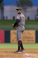AFL East relief pitcher Jon Duplantier (31), of the Salt River Rafters and the Arizona Diamondbacks organization, gets ready to deliver a pitch during the Arizona Fall League Fall Stars game at Surprise Stadium on November 3, 2018 in Surprise, Arizona. The AFL West defeated the AFL East 7-6 . (Zachary Lucy/Four Seam Images)