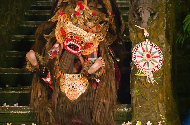 The BARONG DANCE is performed by the Cenik Wayah Gamelan Dance Group at PURA TAMAN SARASWATI - UBUD, BALI, INDONESIA