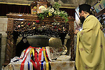 Israel, Jerusalem, the icon of Virgin Mary at Mary's Tomb on the Greek Orthodox Feast of the Assumption