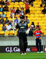 NZ's Kane Williamson celebrates his half century during the International Twenty20 cricket match between the NZ Black Caps and England at Westpac Stadium in Wellington, New Zealand on Tuesday, 13 February 2018. Photo: Dave Lintott / lintottphoto.co.nz