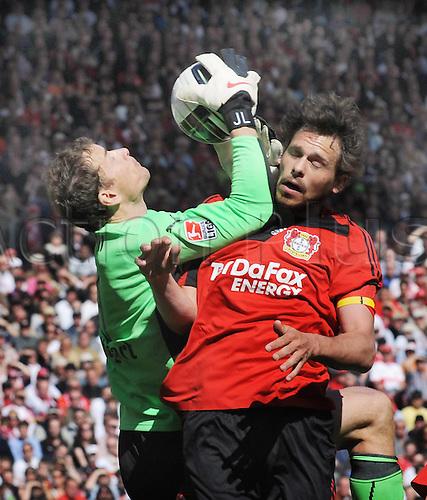 17.4.10 Bundesliga Matchday 31, league 1,VfB Stuttgart v Leverkusen. Stuttgart won the match 2-0. Played at the Stuttgart Mercedes Benz Arena. Jens Lehmann VfB left against Manuel Friedrich Leverkusen right