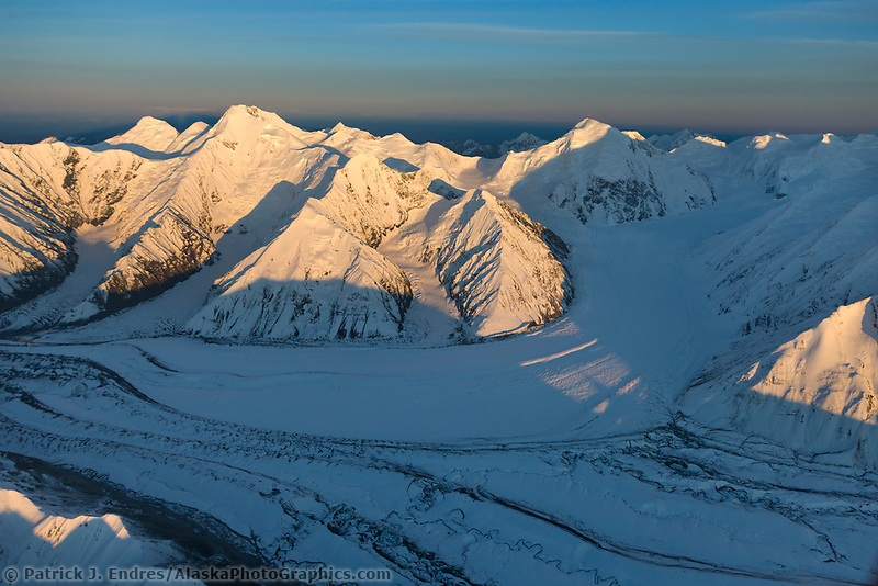 Aerial view of the Brooks glacier as it flows into the muldrow glacier out of the Alaska Range mountains. deception mountain on the right, mount mather on the left. Denali National Park, Interior, Alaska.