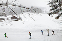 Cross country skiing trail, Le Grand Bornand, France, 15 February 2012.