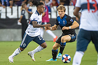 SAN JOSE, CA - AUGUST 25: Yordy Reyna #29 of the Vancouver Whitecaps and Florian Jungwirth #23 of the San Jose Earthquakes during a game between Vancouver Whitecaps FC and San Jose Earthquakes at Avaya Stadium on August 24, 2019 in San Jose, California.