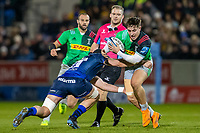 3rd January 2020; AJ Bell Stadium, Salford, Lancashire, England; English Premiership Rugby, Sale Sharks versus Harlequins; Cadan Murley of Harlequins is tackled by Bryn Evans of Sale Sharks - Editorial Use