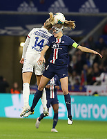 20191116 – LYON ,  FRANCE ; Lyon's  Ada Hegerberg (14) and PSG's Irene Paredes battle for a high ball during the women's soccer game between Olympique Lyonnais and PARIS SG on the 9th matchday of the French Women's first league , D1 of the 2019-2020 season , Saturday 16 th November 2019 at the Groupama stadium in Lyon , France . PHOTO SPORTPIX.BE   SEVIL OKTEM