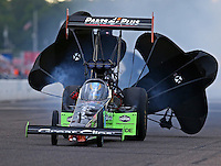 Aug 19, 2016; Brainerd, MN, USA; NHRA top fuel driver Clay Millican during qualifying for the Lucas Oil Nationals at Brainerd International Raceway. Mandatory Credit: Mark J. Rebilas-USA TODAY Sports