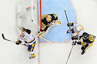May 29, 2017: Nashville Predators right wing Viktor Arvidsson (38) reaches for the rebounding puck behind Pittsburgh Penguins goalie Matt Murray (30) during game one of the National Hockey League Stanley Cup Finals between the Nashville Predators  and the Pittsburgh Penguins, held at PPG Paints Arena, in Pittsburgh, PA. Pittsburgh defeats Nashville 5-3 in regulation time.  Eric Canha/CSM