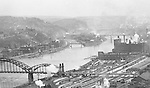 Pittsburgh PA:  View of the Strip District Railroad yards, 16th Street Bridge, North Side Heinz Plant and Herr's Island taken from the new Kopper's Building.