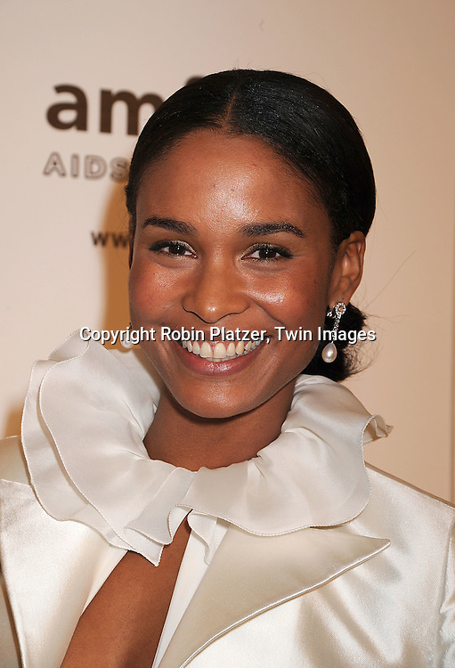 Joy Bryant.posing for photographers at The amFAR New York Gala honoring Julian Schnabel, Carine Roitfeld and Bobby Shriver on January 31, 2008 at Cipriani 42nd Street. ..Robin Platzer, Twin Images..212-935-0770